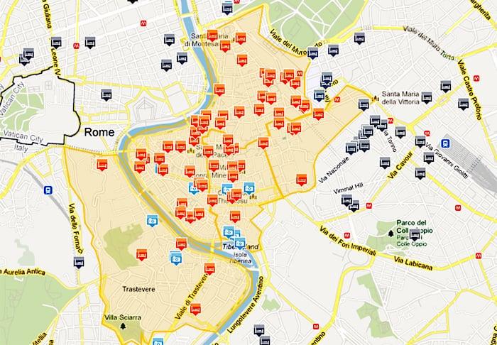 Mapa de hoteles en la zona turística