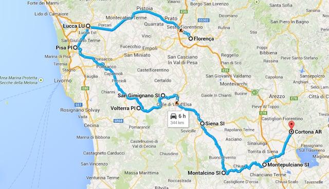 Itinerario en coche por la Toscana