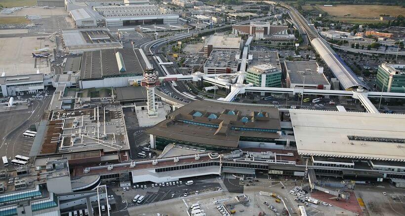 Aeroporto de Roma visto de cima