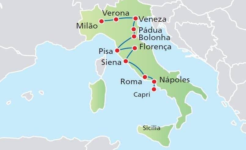Mapa das cidades turísticas da Itália